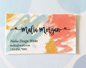 Printed Business Cards, Custom Business Cards, Watercolor Card - Set of 50