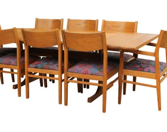 JUST REDUCED Conant Ball Mission Style Oak Dining Table and 8 Chairs
