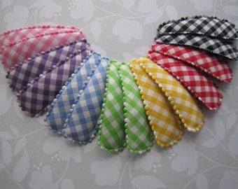 Large Design Gingham . snap clips . toddler hair accessory . blue pink yellow red green purple black