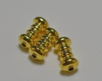 gold plated fancy ribbed tubes, 18x5mm - #2135