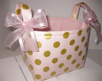 Lt Coral Pink Gold Polka Dot Metallic Glitz Organizer bin / Fabric Basket / Small Diaper Caddy -Personalization Available