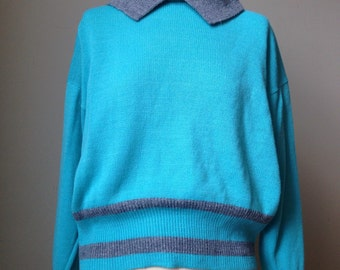 1960s Ski Sweater / Baby Blue Vintage Jumper / Turquoise Sweater Retro Winter Top with oversized collar grey trim 60s stretchy knit Shirt