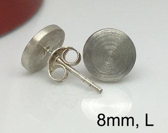 Sterling silver men's stud earrings, permafrost round studs, everyday earrings, large stud earrings, mens earrings, fake plugs, 420 8MW