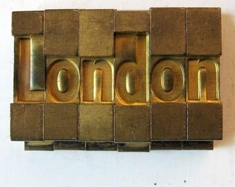 Vintage Ludlow Mats Matrices Brass London Tempo Bold Condensed 60 pt Printing Type