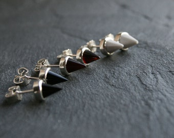 sterling silver and gemstones spiky studs - READY to SHIP