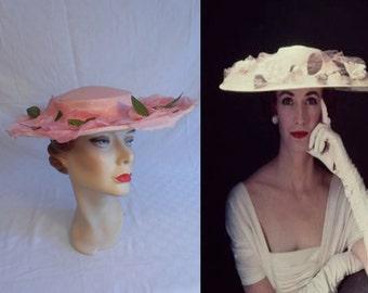 As The Wedding Started - Vintage 1950 Bubblegum Pink Cartwheel Wide Brim Hat w/Large Florals