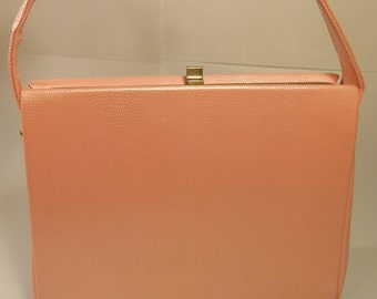 Passionately Powerful  - Vintage 1950s Garay Shimmer Pink Faux Alligator Vinyl Handbag
