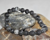 Unisex Essential Oil Diffuser Bracelet with Natural Stone Beads and Diffusing Lava Beads