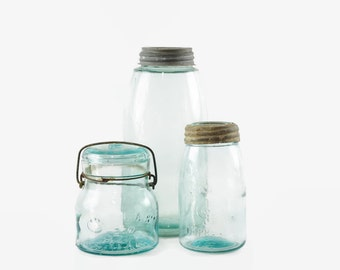 Vintage Aqua Mason Jar, Half Gallon Jar, Mason's Improved Midget Pint,  Atlas EZ Seal, Glass Fruit Jar, Farmhouse Decor