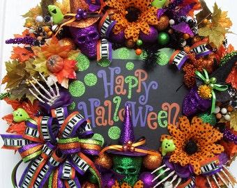 Lg. Happy Halloween Door Wall Porch Wreath