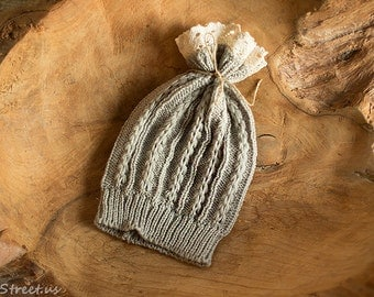 Baby Gray Hat, Baby Girl Hat, Beanie, Gray Hat, Lace Knit Hat, Natural Props, Baby Photo Prop, Newborn Props, Baby Props, Wizard Hat, RTS