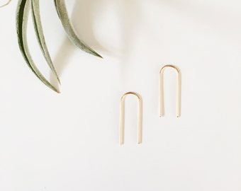 Long Arc Threaders / Staple Earrings / arch ear pins / pull through earrings