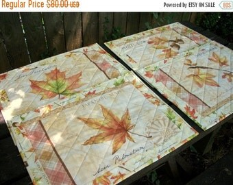 CIJ SALE Fall Placemats Quilted Autumn Reversible Set of 4 Quiltsy Handmade FREE U.S. Shipping