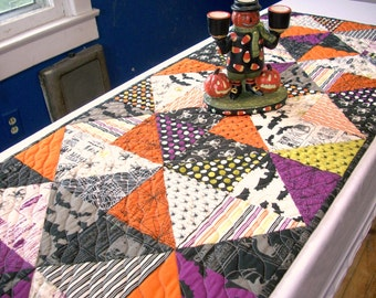Halloween Table Runner Quilted FREE US Shipping Quiltsy Handmade Spiders Bats Black Orange Purple Green