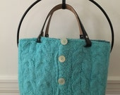 Turqouise Cable Felted Tote Bag