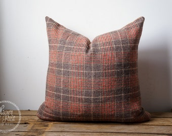 Vintage green check pillow cover