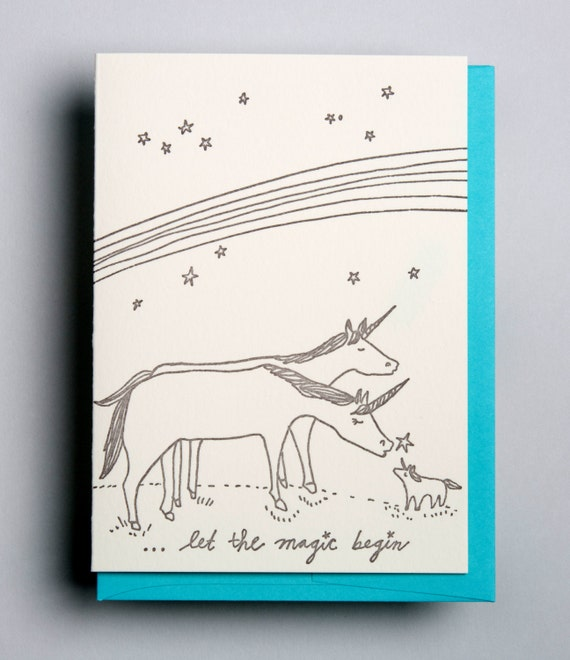 "Letterpress card,  ""Let the magic begin"""