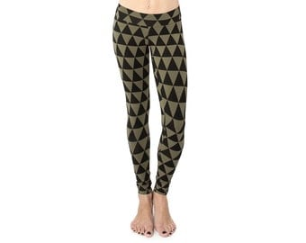 Printed Leggings - Yoga Pants - Organic Yoga Clothing - Patterned Leggings - Best Leggings - Eco Yoga Clothing - Triangle Print Leggings
