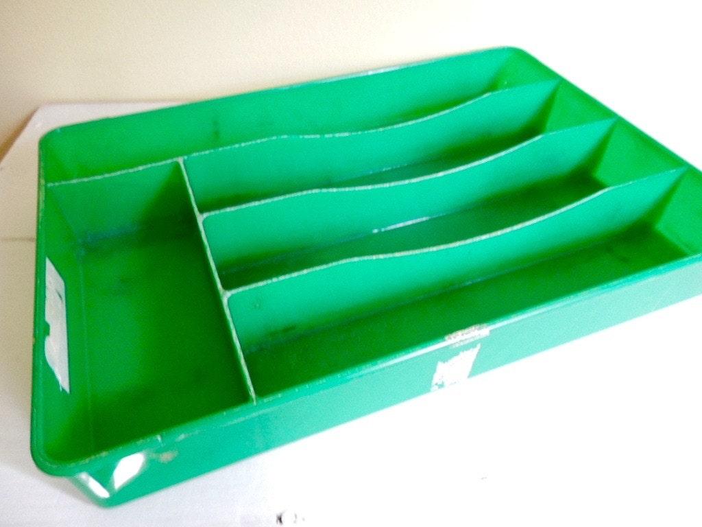 Vintage Flatware/ Silverware Tray, Organizer, Caddy, Green Plastic ...