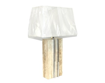 Signed Raymor Travertine Marble and Chrome Skyscraper Lamp Paul Evans Era