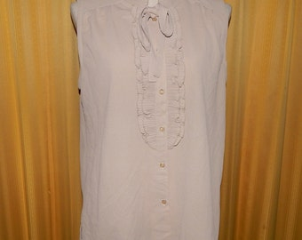 Beautiful Beige Pleated Ruffle Sleeveless Top Blouse Bust 40