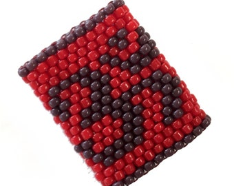 Ohm Dreadlock Bead - Sleeve For Large Dreads in Red and Purple - Ring size 3.5