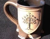 Tree of Gondor inspired mug, 8 ounces, gold glaze