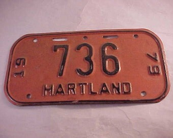 1979 Hartland Wisconsin Bicycle License Plate