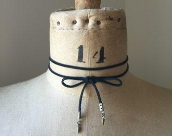 Black Suede Spike Tie Choker Lariat Wrap Necklace