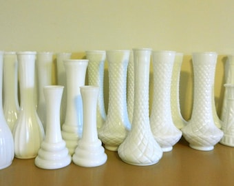 Huge Lot Milk Glass Wedding Vases 25 Mixed Pattern Sizes