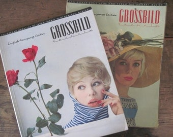 1950s GROSSBILD TECHNIK Photography Art magazine - vintage Trade mag, German /English language edition - 2 issues: no 2 / 1958 + no 3 / 1959