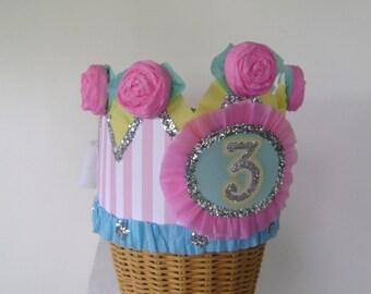 3rd Birthday Party Hat, 3rd Birthday crown, pastel birthday hat, girl birthday hat, customize