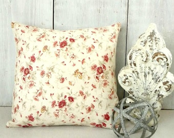 Red Rosebud Pillow Cover - Red Floral Pillow - Red Roses Throw Pillow - Cottage - Traditional