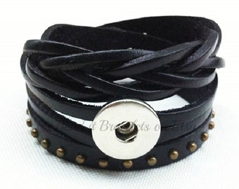 Black leather double wrap bracelet fits regular sized snap jewelry charms & works with 18-20 mm Ginger Snaps jewelry