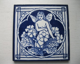 Rare and original Minton Tile- 'Primrose' as part of the series titled 'The Spirits of the Flowers' in very good condition