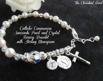 Catholic Communion Swarovski Pearl and Swarovski Crystal Rosary bracelet with Sterling Silver Monogram