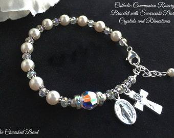 Elegant First Communion Rhinestone, Pearl & Swarovski Crystal Rosary Bracelet