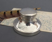 Solid Silver Capstan Inkwell from England - Antique Inkwell - Hallmarked Chester 1925