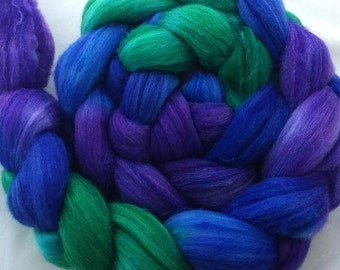"Merino/SW Merino/Tussah Silk  Combed Top 4 oz. ""Fibery Jewels"""