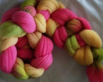 Hand Dyed Rambouillet Combed Top 4 Oz.  Rainbow Sherbert