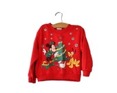 BLOWOUT 40% off sale Vintage 80s Minnie Mouse Christmas Sweatshirt - Kids 4 Girls - ugly sweater party