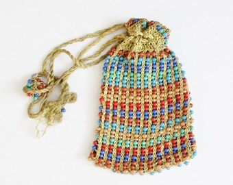 50% half off sale // Vintage 40s does 20s Beaded Purse with Drawstring Tassels, Rainbow Beads