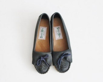 sale // Vintage 80s Sioux Mox Tru Stitch Moccasin Flats - Blue Leather - Women 5.5