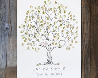 Wedding Guest Book Alternative, Fingerprint tree, Medium Olive Tree, Unique Guest Book, thumbprint tree, Rustic Wedding Guest Book