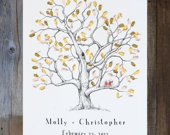 Fingerprint Tree Wedding Guest Book Alternative, Original Hand-drawn Medium Elm Tree Design (ink pads sold separately)
