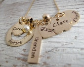 Personalized Hand Stamped Gold Grandmother's Necklace , Mother's Necklace, Kids Names Necklace, Family, Grandchildren, Christmas Gift