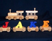 3 to 9  Painted  Letter  Wooden Name Train Toy -Handcrafted heirloom quality -- Order Today receive in 5 business days