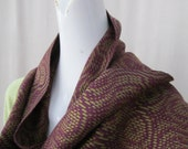 Handwoven Echo Weave Scarf in Purple, Olive, and Russet