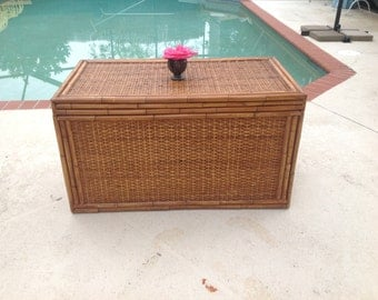 BAMBOO RATTAN TRUNK Hollywood Regency Palm Beach Cottage style Rattan Bamboo Chest 3 feet long On Sale at Retro Daisy Girl