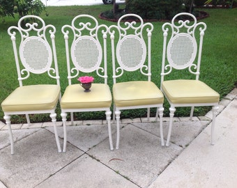 WHITE METAL CHAIRS / Set of 4 Metal Scroll Chairs / Faux Cane Metal Backs / Yellow Vinyl Seats / Cottage Style at Retro Daisy Girl